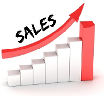 Graph showing sales increasing